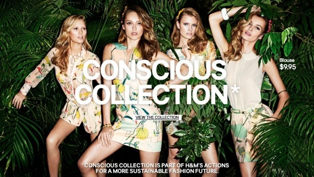 "While sourcing products from sweatshop factories around Southeast Asia, white models on a tropical backdrop sell H&M's Conscious Collection: fashion for ""conscious customers"""